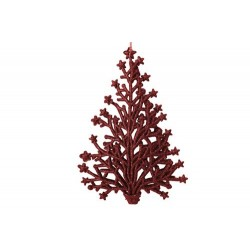 HANGER KERSTBOOM GLITTER ROOD 2X10XH15CM  Cosy @ Home