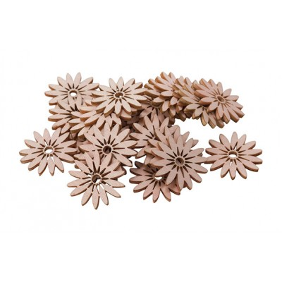 STROOIDECO SET24 DAISIES ROZE 3CM HOUT  Cosy @ Home