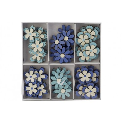 STROOIDECO SET48 FLOWERS MIX BLAUW D3,5CM HOUT  Cosy @ Home