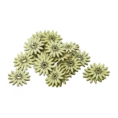 STROOIDECO SET24 DAISIES GROEN 3CM HOUT  Cosy @ Home