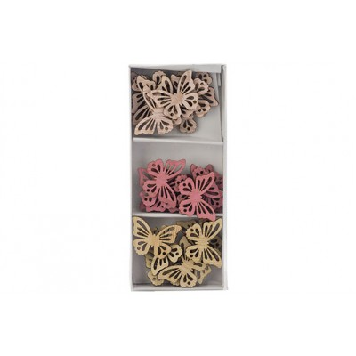 STROOIDECO SET24 ROZE 3,5X3CM HOUT  Cosy @ Home
