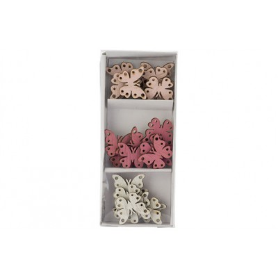 STROOIDECO SET24 BUTTERFIES MIX WHITE ROZE 3,5X3CM HOUT  Cosy @ Home