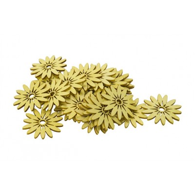 STROOIDECO SET24 FLOWERS GEEL 5CM HOUT  Cosy @ Home