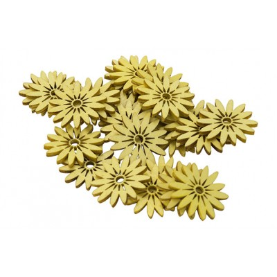 STROOIDECO SET24 DAISIES GEEL 3CM HOUT  Cosy @ Home