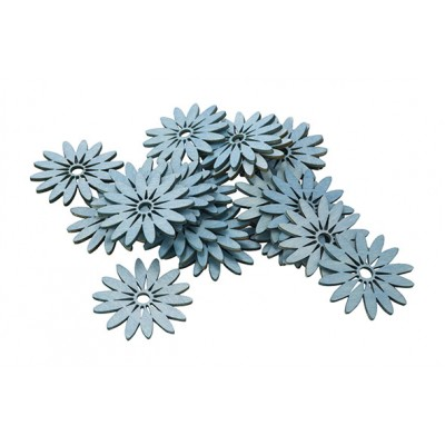 STROOIDECO SET24 FLOWERS BLAUW 5CM HOUT  Cosy @ Home