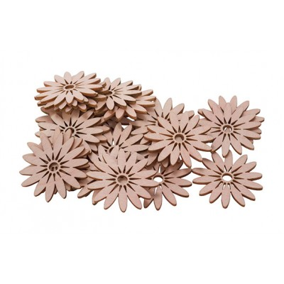 STROOIDECO SET24 FLOWERS ROZE 5CM HOUT  Cosy @ Home