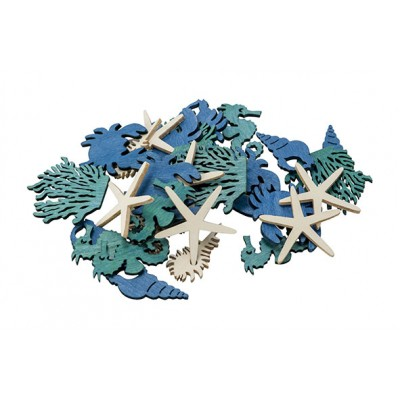 STROOIDECO SET36 SEA ANIMALS BLAUW 4CM HOUT  Cosy @ Home