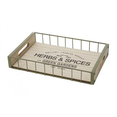 Dienblad Herbes-spices Wood Natuur 31x20xh5cm Rechthoek Metaal