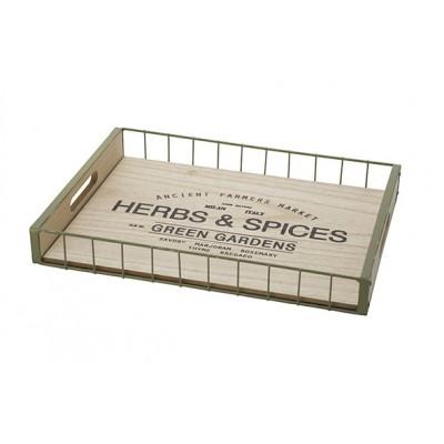 Dienblad Herbes-spices Wood Natuur 39,5x29xh5cm Rechthoek Metaal