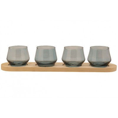 THEELICHTHOUDER 4 PARTS WOOD PLATE BLAUW 41,5X8,5XH8CM GLAS  Cosy @ Home