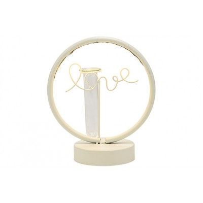 CIRKEL LOVE LED LIGHT 2AABAT NOT INCL GLASS TUBE WIT 19X10,5XH21,5CM ROND METAAL  Cosy @ Home