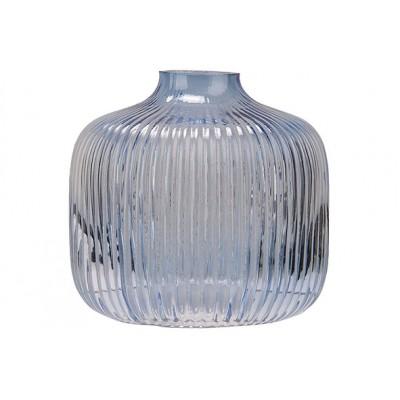 VAAS STRIPES LICHTBLAUW 11,2X11,2XH10,4CM ROND GLAS  Cosy @ Home
