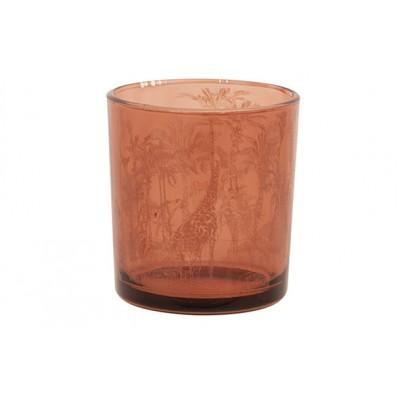 THEELICHTHOUDER GIRAFFE TERRACOTTA 7X7XH8CM GLAS