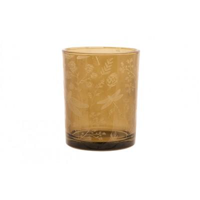 THEELICHTHOUDER GIRAFFE TAUPE 10X10XH12,5CM GLAS
