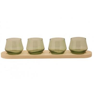 THEELICHTHOUDER 4 PARTS WOOD PLATE GROEN 41,5X8,5XH8CM ANDERE GLAS