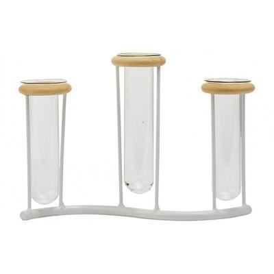 Houder 3x Glass Tube 3,5x10-12cm Wit 19x4,5xh13,5cm Langwerpig Metaal  Cosy @ Home