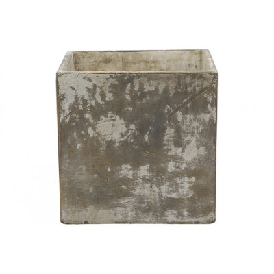 Bloempot Antique Finish Zand 21x21xh20cm Vierkant Cement  Cosy @ Home