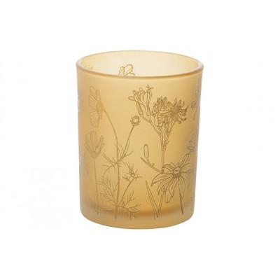 THEELICHTHOUDER FLOWERS GEEL 10X10XH12,5CM GLAS  Cosy @ Home
