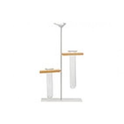 Houder Bird 2x Glass Tube 3,5x12cm Wit 17x7xh31cm Langwerpig Metaal  Cosy @ Home