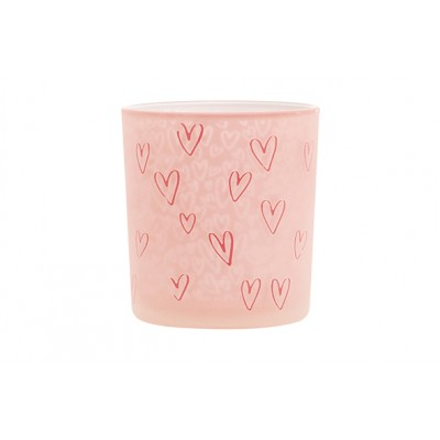 THEELICHTHOUDER HEARTS ROZE 10X10XH12,5CM GLAS  Cosy @ Home