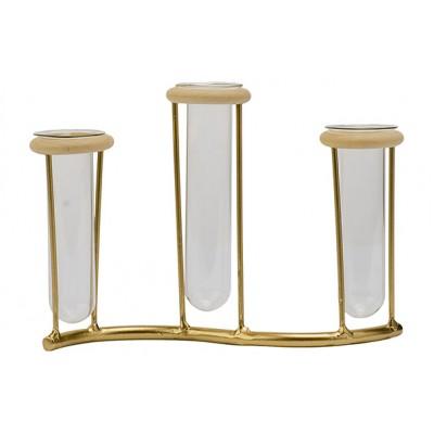 Houder 3x Glass Tube 3,5x10-12cm Goud 19x4,5xh13,5cm Langwerpig Metaal