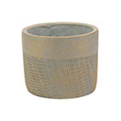 Bloempot Gold Brushed Greige 14,5x14,5xh12cm Rond Cement  Cosy @ Home