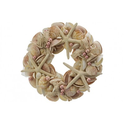Krans Shells And Pink Pearls Natuur D28xh6cm