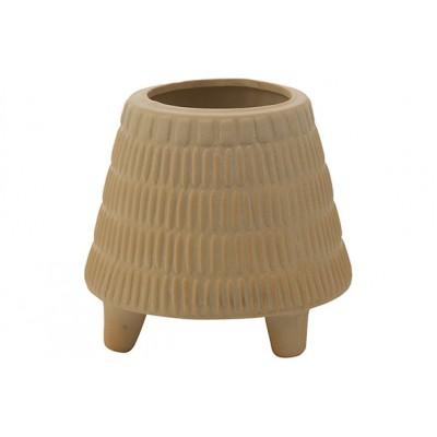 Bloempot Carved Creme 15x15xh13cm Rond Conisch Aardewerk  Cosy @ Home