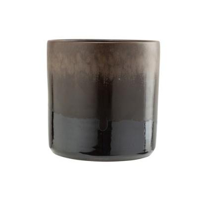 BLOEMPOT GLAZED BRUIN 18X18XH18CM CILIND  Cosy @ Home