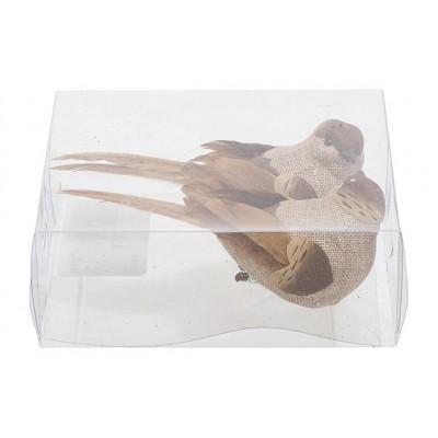 Vogel Clip Set2 Birdy Taupe 12x3xh4cm Langwerpig Kunststof