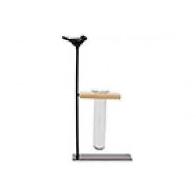 Houder Bird 1x Glass Tube 3,5x12cm Zwart 14,5x7xh24,5cm Langwerpig Metaal  Cosy @ Home
