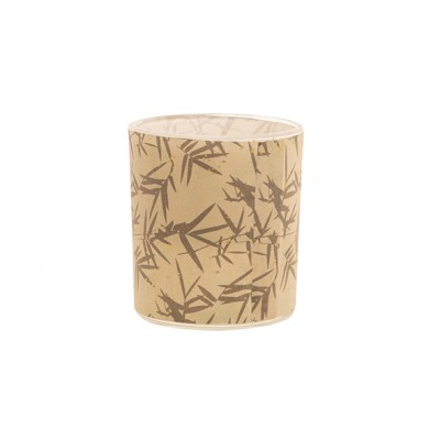 Theelichthouder Bamboo Leaf Bruin 9x9xh10cm Glas