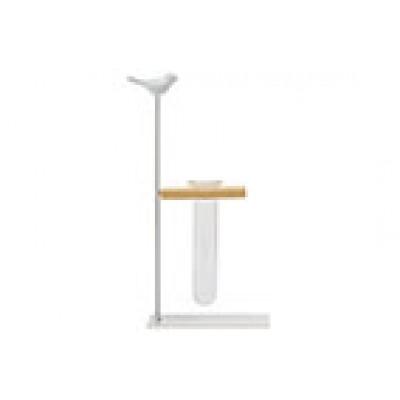Houder Bird 1x Glass Tube 3,5x12cm Wit 14,5x7xh24,5cm Langwerpig Metaal  Cosy @ Home