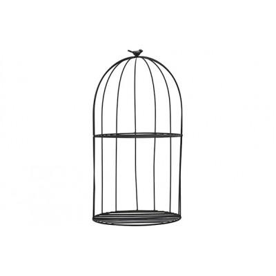 Rek Bird Wall Hanger Zwart 30x30xh56,5cm Rond Metaal  Cosy @ Home