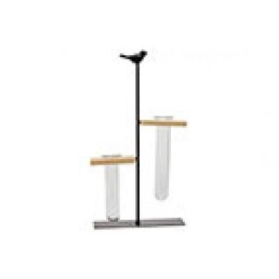Houder Bird 2x Glass Tube 3,5x12cm Zwart 17x7xh31cm Langwerpig Metaal  Cosy @ Home