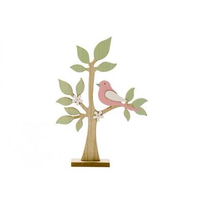 Boom With Bird Pastel Natuur 24x4xh35cmhout