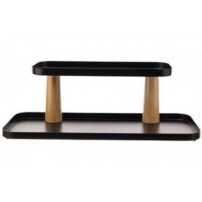 Etagere 2 Level Zwart 39,5x16,5xh14cm Rechthoek Metaal