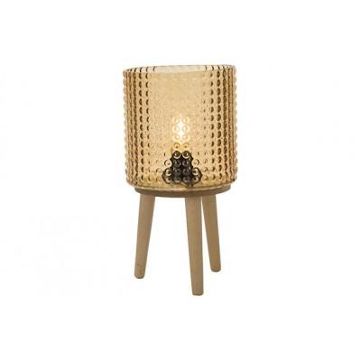 LAMP EXCL. 2XAAA BATT. OKER 16X16XH31,5CM GLAS  Cosy @ Home
