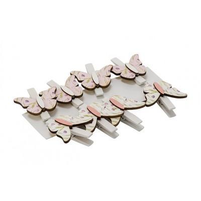 Knijper Set8 Butterfly Roze 3,5x3,5xh5cm