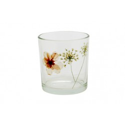 Theelichthouder Daisy Transparant 7x7xh8cm Glas Cosy @ Home