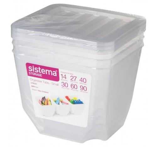 Storage set van 3 opbergdozen met deksel transparant 1.3L   Sistema