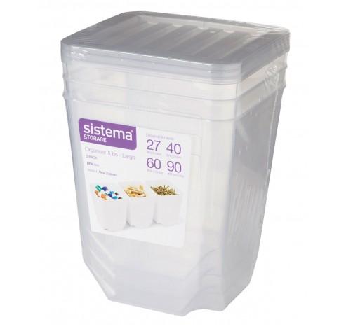 Storage set van 3 opbergdozen met deksel transparant 1.8L   Sistema