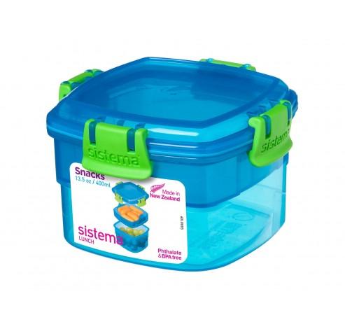 Lunch snackdoos Snacks blauw 400ml   Sistema
