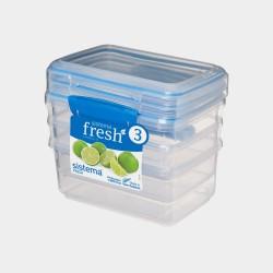 Fresh set van 3 voorraaddozen blauw 1L