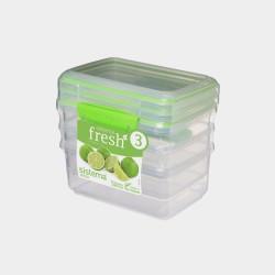 Fresh set van 3 voorraaddozen groen 1L