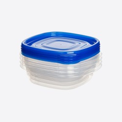 TakeAlongs set van 4 vierkante voorraaddozen blauw 669ml