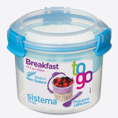 To Go ontbijtkom met compartiment Breakfast Minty Teal 530ml  Sistema