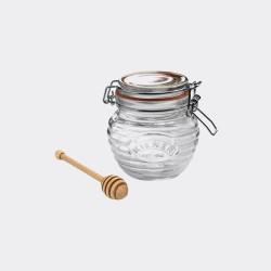Glazen honingpot met houten honinglepel in cadeauverpakking 400ml