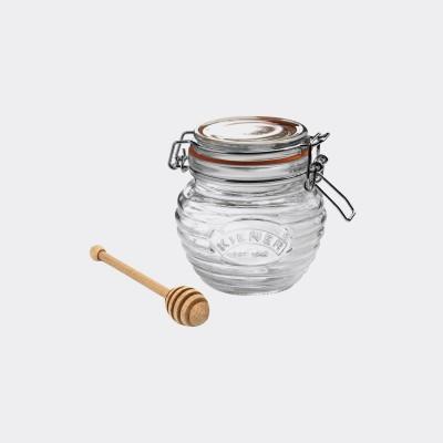 Glazen honingpot met houten honinglepel in cadeauverpakking 400ml   Kilner