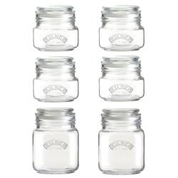 set van 6 glazen voorraadbokalen met klemdeksel 4x 500ml - 2x 1L  Kilner